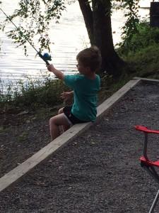 Fishing at the yurt.
