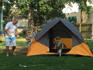 This was a trial run before the real camping trip. The kids retreated to the air conditioner by 9pm.